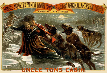 Dogs chasing slaves, illustration from Uncle Tom´s cabin
